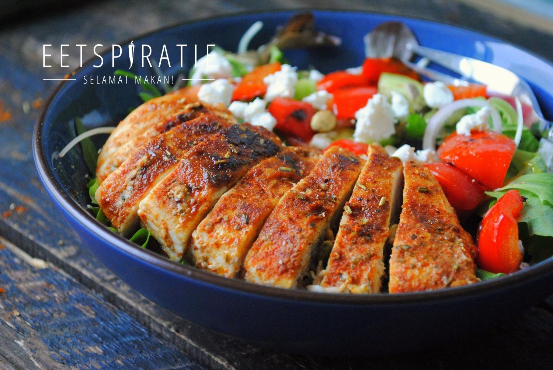 Snelle lunchsalade met kip