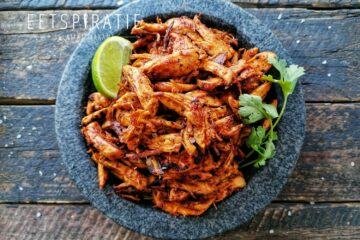 Piri piri pulled chicken uit de slowcooker